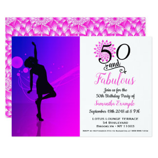 50 and Fabulous Pink 50th Birthday Invitation