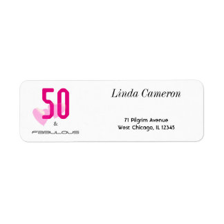 50 and fabulous pink black typography adress label