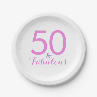 50 and Fabulous Pink Fiftieth Birthday Party Paper Plate