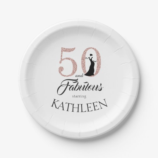 50 and Fabulous Pink Glitter Custom Name Paper Plate