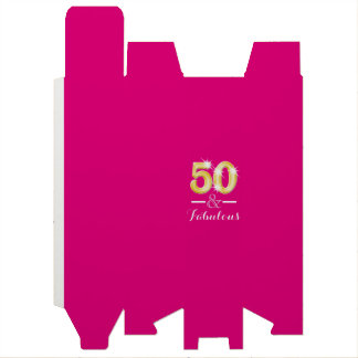 50 and fabulous pink gold wine gift box