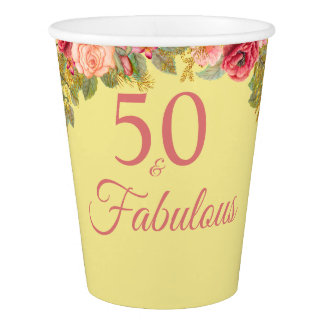 50 And Fabulous Pink Roses With Touches Of Gold Paper Cup