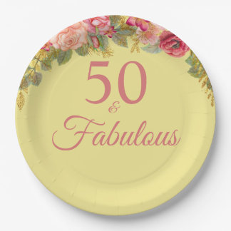 50 And Fabulous Pink Roses With Touches Of Gold Paper Plate