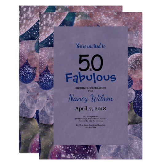 50 and fabulous purple balloons birthday invitation zazzle 50 and fabulous purple balloons birthday invitation filmwisefo