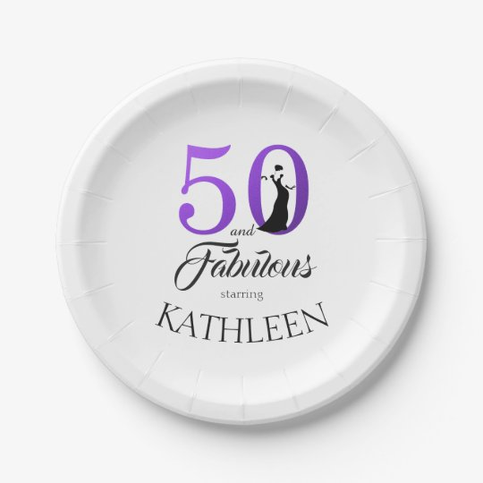 50 and Fabulous Purple Custom Name Birthday Party Paper Plate