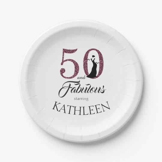 50 and Fabulous Purple Glitter Custom Name Paper Plate