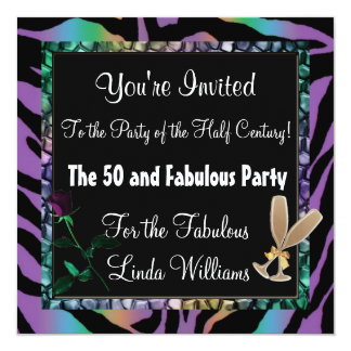 50 and Fabulous ~ Rainbow Zebra Fun Collection 13 Cm X 13 Cm Square Invitation Card