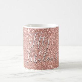 50 and Fabulous Rose Gold Blush Pink Glitter Coffee Mug