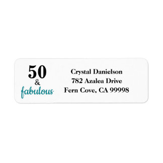 50 and Fabulous Teal Birthday Return Address Label