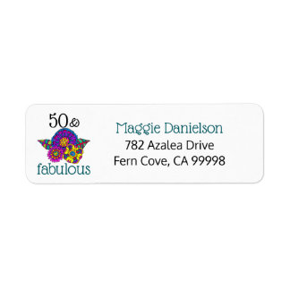 50 and Fabulous Teal Vibrant Floral Return Address