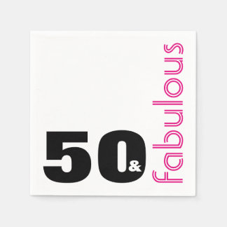 50 and Fabulous Theme 50th Birthday Party Paper Napkins