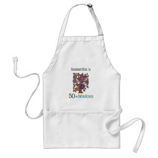 50 and Fabulous | Tree Blossoming Monogram Name Standard Apron