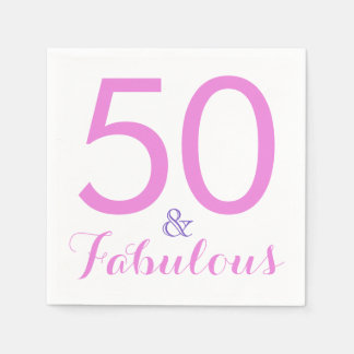 50 and Fabulous Trendy Elegant Birthday Party Pink Disposable Napkin
