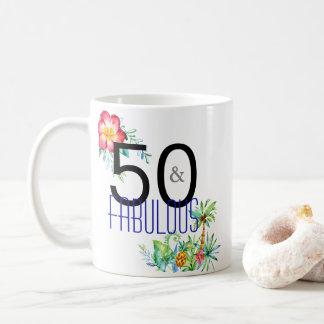 50 and Fabulous Tropical 50th Birthday Coffee Mug