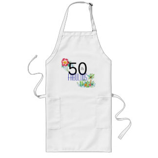 50 and Fabulous Tropical 50th Birthday Long Apron