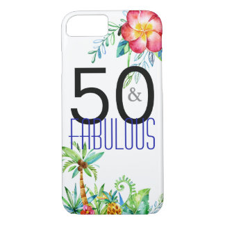 50 and Fabulous Tropical Birthday iPhone Cases