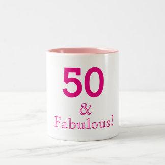 50 and fabulous two tone pink mug
