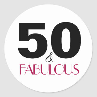 50 and Fabulous | Typography 50th Birthday Classic Round Sticker