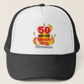 50 and Smokin Hot | 50th Birthday | DIY Name Trucker Hat