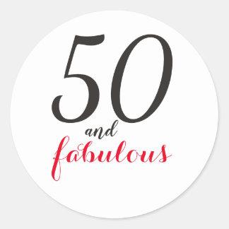 50 anfFabulous|Typography 50th Birthday Classic Round Sticker