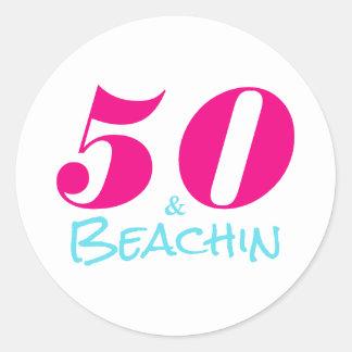 50 & Beachin   50th Birthday Classic Round Sticker