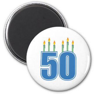 50 Birthday Candles (Blue / Green) Magnet