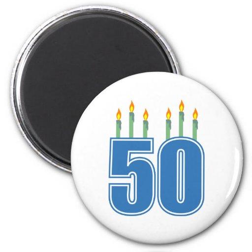 50 Birthday Candles (Blue / Green) Fridge Magnet