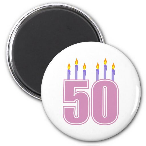 50 Birthday Candles (Pink / Purple) Fridge Magnet