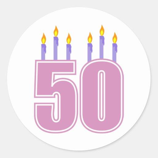 50 Birthday Candles (Pink / Purple) Sticker