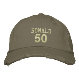 50 Birthday Custom Name KHAKI GREEN V03 Embroidered Hat