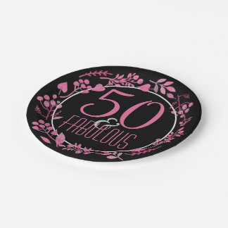 50 & Fabulous 50th Birthday | Black Pink Botanical Paper Plate