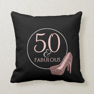 50 & Fabulous | 50th Birthday Black Pink Shoes Cushion