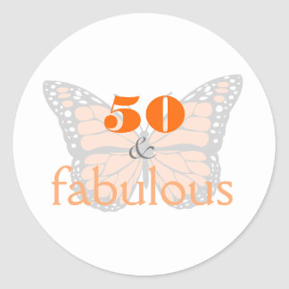 50 & Fabulous 50th Birthday Butterfly Typography Classic Round Sticker