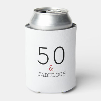 50 & Fabulous 50th Birthday Gift Can Cooler