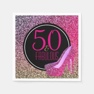 50 & Fabulous | 50th Birthday Pink High Heels Paper Napkins