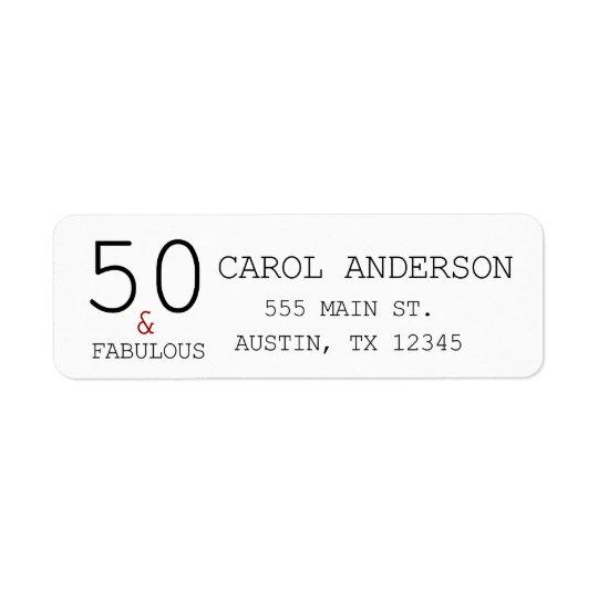 50 & Fabulous 50th Birthday Return Adress Label