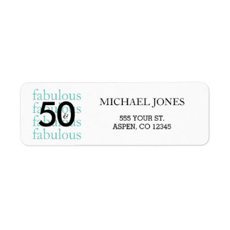 50 & Fabulous 50th Birthday Teal Address Labels