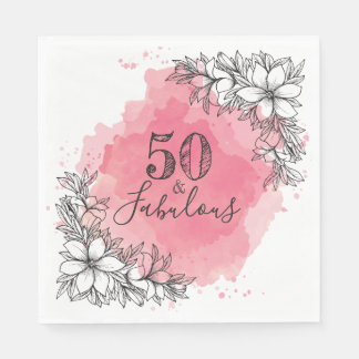 50 & Fabulous. Birthday. Flowers in Watercolor. Disposable Serviettes