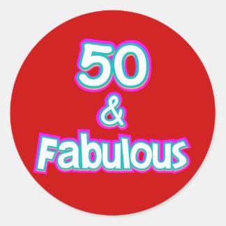 50 & Fabulous Birthday Gifts Classic Round Sticker
