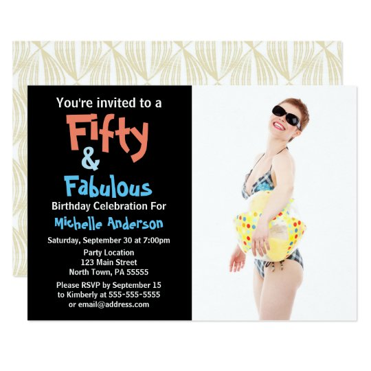 50 & Fabulous Birthday Party Card