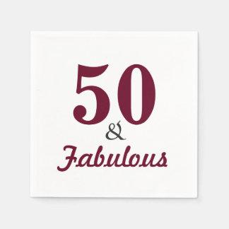 50 & Fabulous Birthday Party Paper Napkins