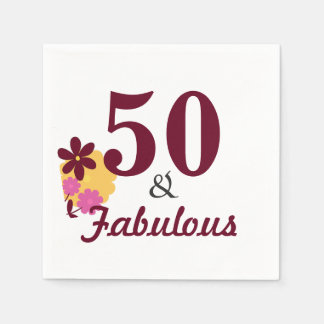 50 & Fabulous Birthday Party Paper Napkins