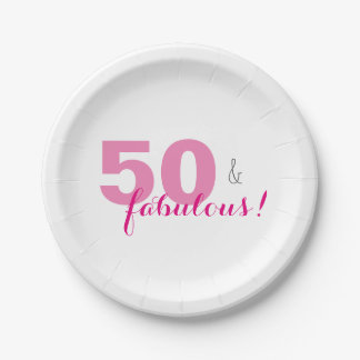 50 & Fabulous Birthday Party Paper Plates