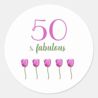 50 & Fabulous Birthday  | Typography Magenta Tulip Classic Round Sticker