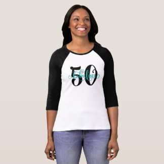 50 & Fabulous Black and Aqua Typography Birthday T-Shirt