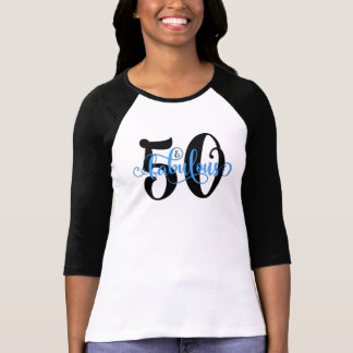 50 & Fabulous Black and Blue Typography Birthday T-Shirt