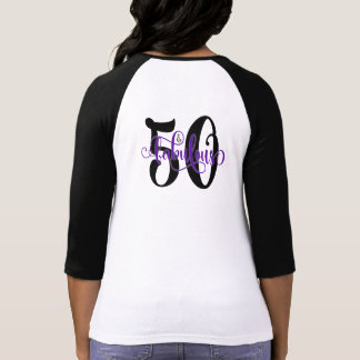 50 & Fabulous Black and Purple Typography Birthday T-Shirt