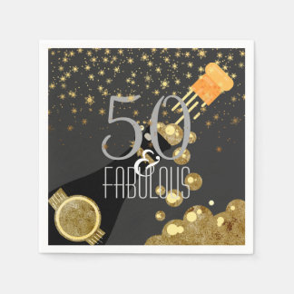 50 & Fabulous Black Gold Champagne 50th Birthday Disposable Napkins
