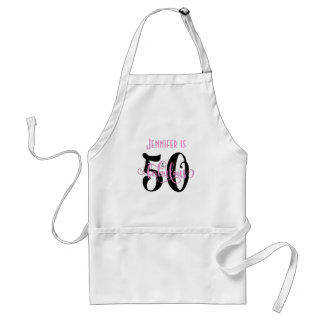 50 & Fabulous Black & Pink 2 Typography Birthday Standard Apron