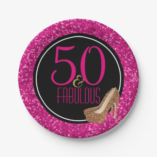 50 & Fabulous | Black Pink 50th Birthday Party Paper Plate
